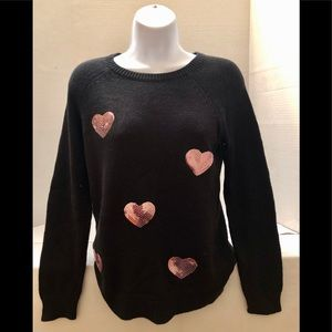 Sugar Rush Girls Black Sweater With Pink Hearts
